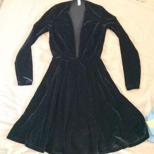 Black Velvet V-Neck Dress